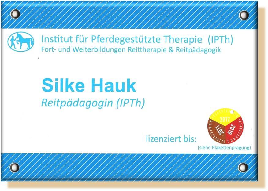 Lizenz Reitpädagogik IPTh Silke Laib, geb. Hauk, Institut für Pferdegestützte Therapie, Prof. Dr. Annette Gomolla