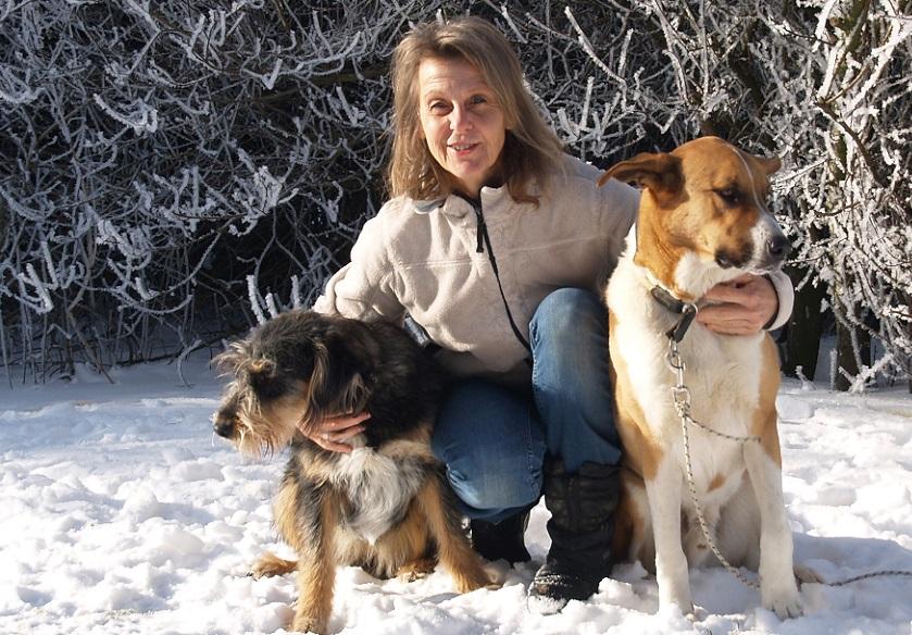 Elija, Silke und Sam in der Januar-Sonne