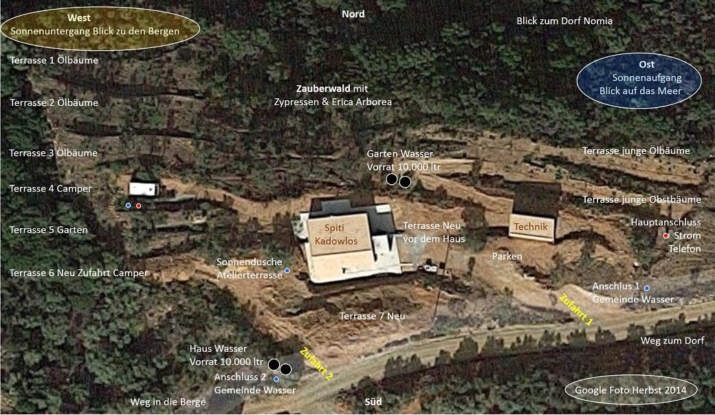 Vogelperspektive mit Beschreibung unseres Grundstücks bei Nomia, Monemvasia, Lakonien, Peloponnes, Hellas