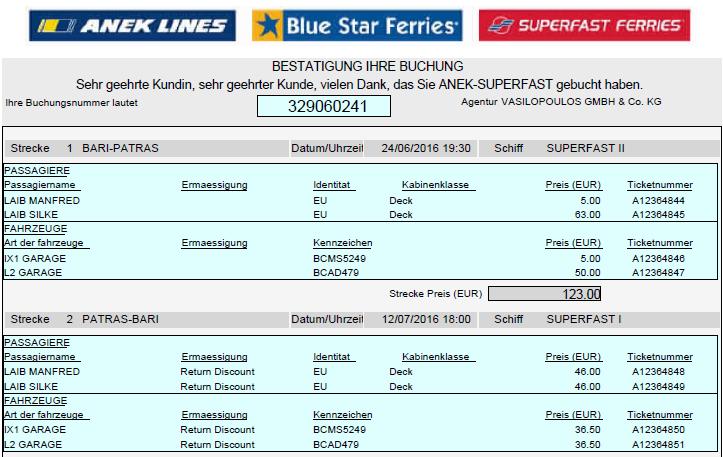 das Ticket für die kommende Überfahrt von Bari nach Patras am 24.06.2016