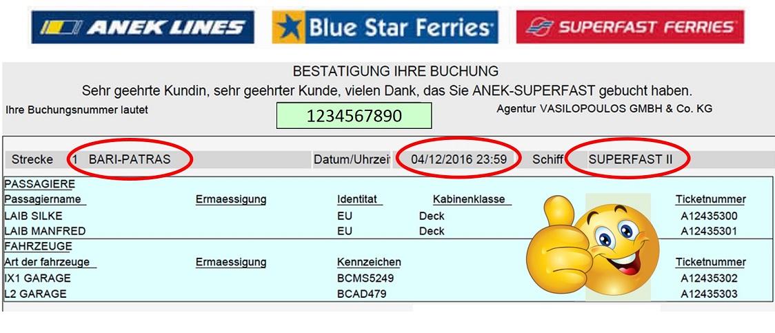 Superfast II ist unser Schiff von Italien ab Bari 23:59 MEZ nach Griechenland Patras 16:30 OEZ