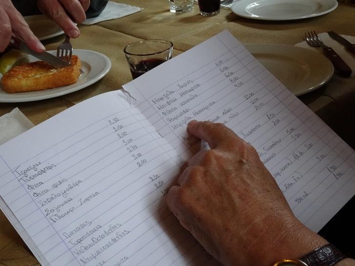 Die Speisekarte ost in ein Kinder Schulbuch geschrieben