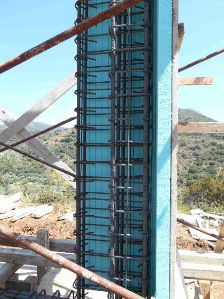 Ecksäule bei der Küche, gut Isoliert werden alle Träger und Säulen aus Beton