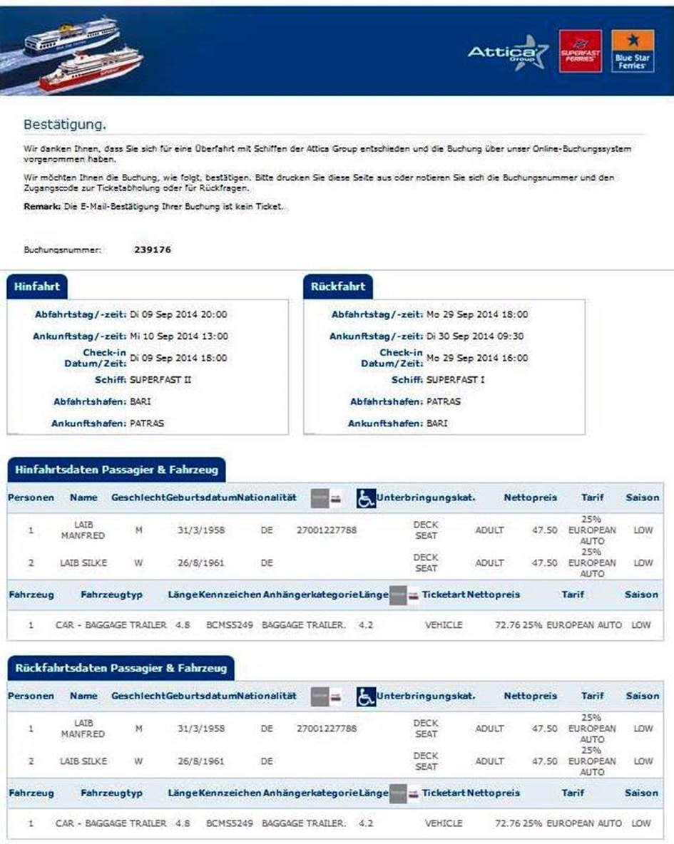 Das Ticket für Silke & Manne zur Superfast mit Überfahrt von Italien nach Griechenland