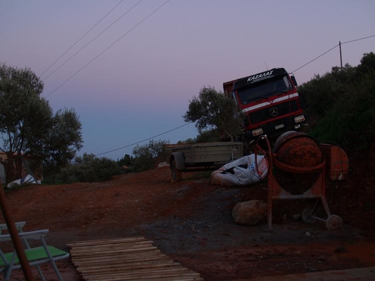 Abendstimmung auf der Baustelle